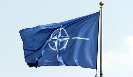 NATO FLAGES ABOVE SHAPE HEADQUARTERS DURING CEREMONY MARKING ADMISSION OF SEVEN NEW NATO MEMBERS