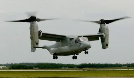 V-22 Osprey makes a vertical landing
