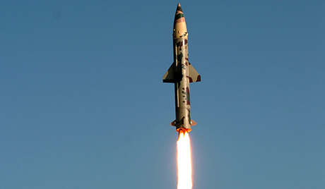 Surface-to-surface missile Prithvi II takes off from Chandipur in Orissa state,