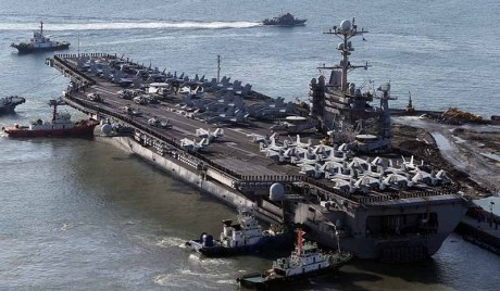 US aircraft carrier USS George Washington arrives in Busan