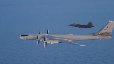 Photo of طائرات مقاتلة من طراز F-22 تعترض قاذفات روسية