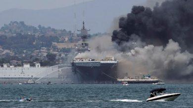 Photo of النيران تندلع بسفينة USS Bonhomme Richard الاميركية و اصابة 21 شخصًا