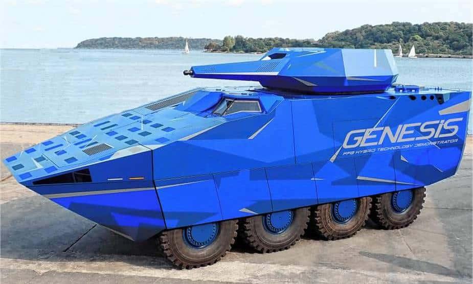 الكشف عن المركبة Genesis 8x8 الألمانية المزودة بنظام محرك ديزل وكهرباء هجين